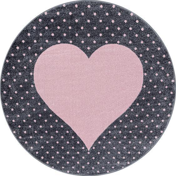 Bennjen Kinderteppich Rosa , Textil , Herz