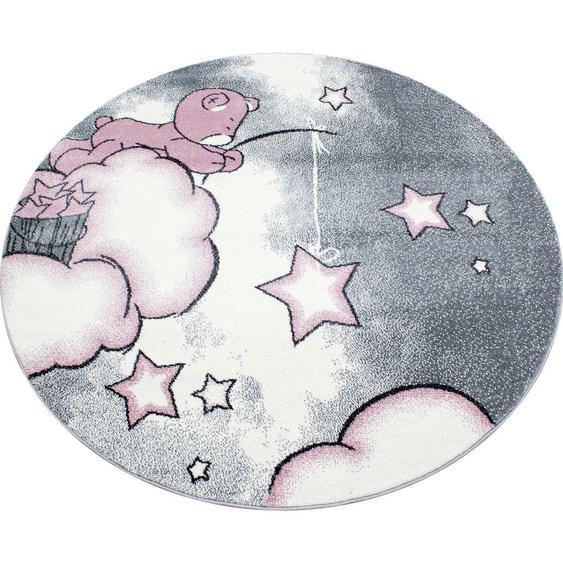 Bennjen Kinderteppich Weiß, Rosa , Textil , Bär , 160 cm