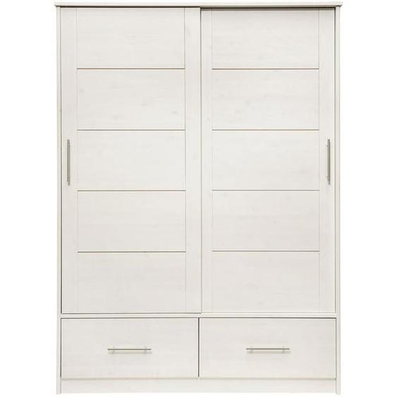 Bennjen Kleiderschrank , Weiß , Holz , Kiefer , massiv , 4 Fächer , 2 Schubladen , 145x200x57.5 cm