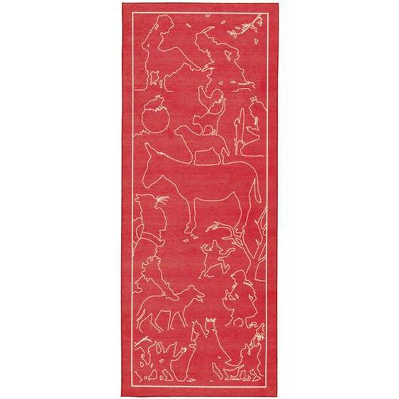 utz Läufer 80/200 cm Rot , Textil , Tier , 80 cm