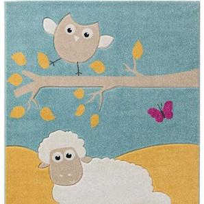 Benuta Kinderteppich Eule und Schaf Multicolor 140x200 cm | Teppich für Spiel- und Kinderzimmer