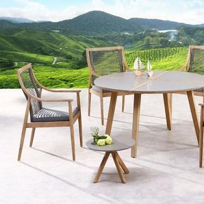 BEST 5-tlg. Dining-Gruppe Barletta/Lagos, 170 x 90 cm, Holz/Geflecht/Beton