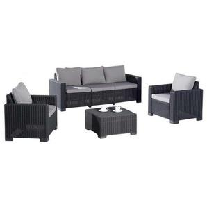 Best Mombasa Sofagruppe 4-teilig Kunststoff Graphit/Hellgrau