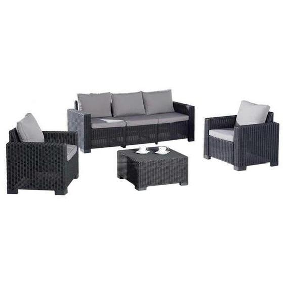 Best Mombasa Sofagruppe 4-teilig Kunststoff Dunkelgrau Hellgrau