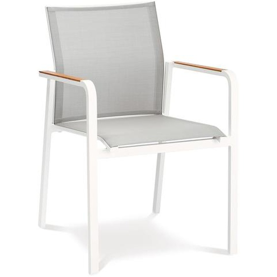 BEST Paros Stapelsessel, weiß/grau, Alu/Ergotex/Teak, 56 x 64 x 85 cm