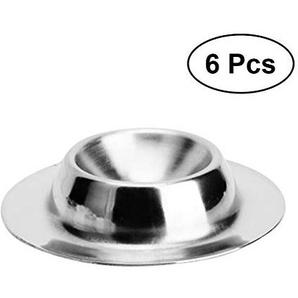 BESTONZON 6pcs Eierhalter - 304 Edelstahl Eierablage Frühstück Eierbecher Dessert Eisbecher Pudding Cup Caviar Cup Geschirr Küche Werkzeuge