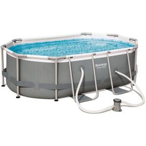 Bestway Frame Pool Set Power Steel Weiß , Metall, Kunststoff , Uni , 200x84x300 cm