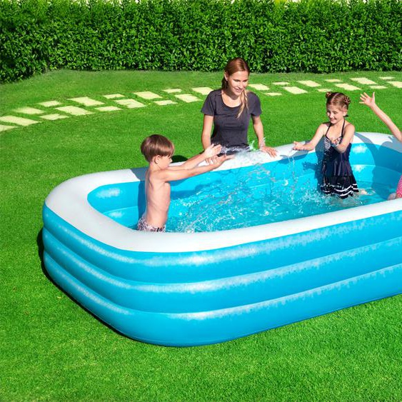 Bestway Planschbecken Family Pool Deluxe, BxTxH: 183x305x56 cm B/H: 183 x 56 cm, 1161 l blau Pools Garten Balkon