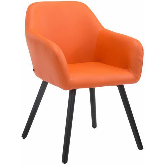 CLP - Besucherstuhl Achat V2 Kunstleder-orange-Schwarz (Eiche)