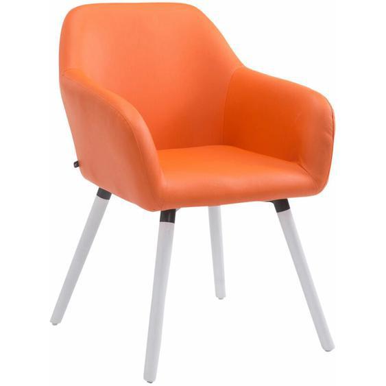 CLP - Besucherstuhl Achat V2 Kunstleder-orange-Weiß (Eiche)