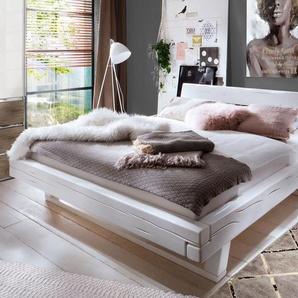 Bett Arnara, weiß mit Holzstruktur, 200x200 cm