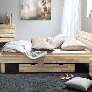 Design Holzbett Arvada - 160x220 cm - Kernesche natur - Fußhöhe 20 cm
