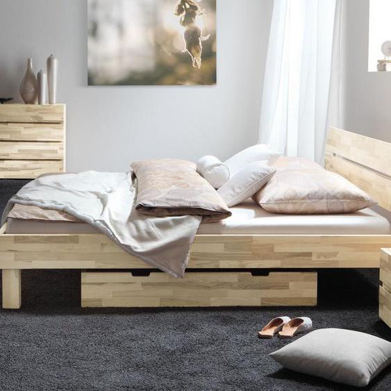 Bett Arvada, Kernesche natur, 90x200 cm, Fußhöhe 30 cm