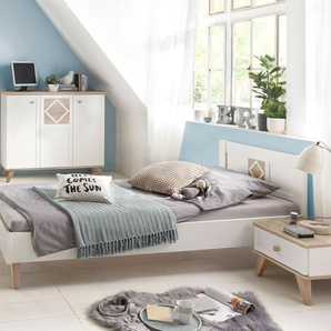 Modernes alpinweißes Bett mit Retro-Charme 140x200 cm - Atina