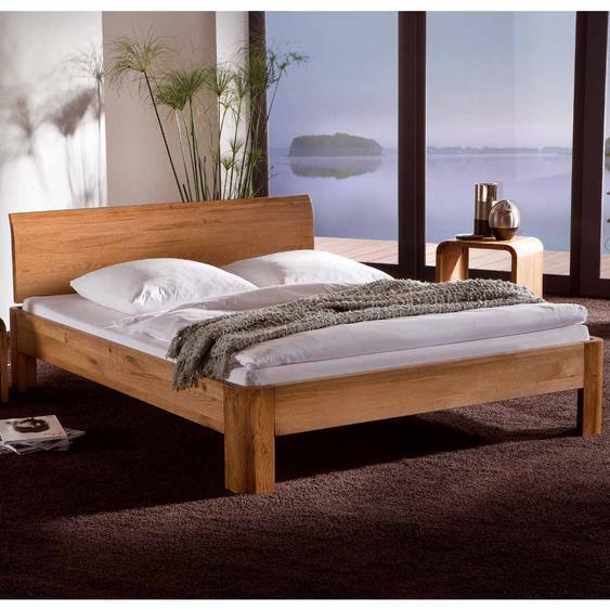 Bett aus Eiche Massivholz geölt und gebürstet