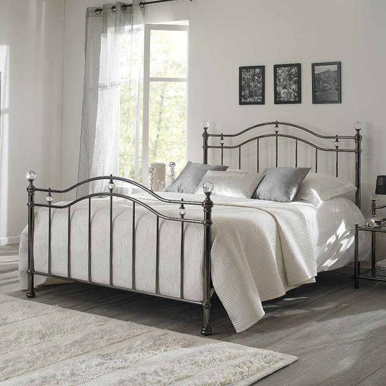Bett aus Metall Schwarz Nickel