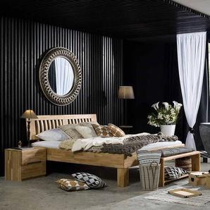 Bett aus Wildeiche Massivholz mit �berl�nge