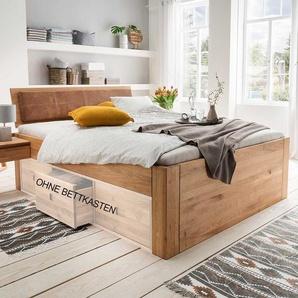 Bett aus Wildeiche Massivholz Polsterkopfteil in Braun