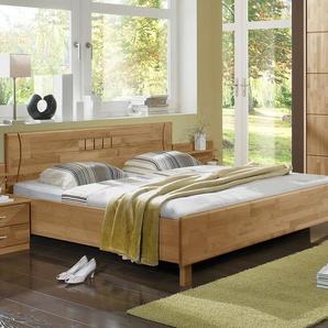 Doppelbett aus teilmassiver Erle natur - 200x220 cm - Beyla