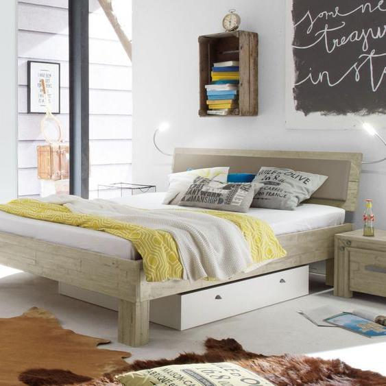 Bett Caldera, Akazie weiß, 180x210 cm, Fußhöhe 20  cm - ohne Metall-Beschläge