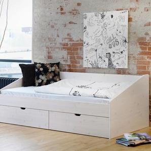 Bett Dänemark, weiß mit Holzstruktur, 90x200 cm - BETTEN.de