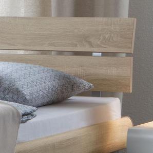 Modernes Designerbett Diego - 180x210 cm - Esche hell - Fußhöhe 20 cm
