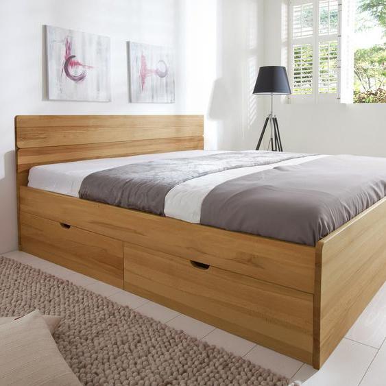 Bett Finnland, weiß mit Holzstruktur, 180x200 cm