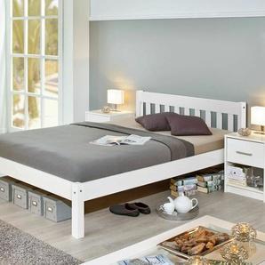 Bett Genf, weiß mit Holzstruktur, 140x200 cm