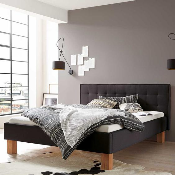 Bett in Anthrazit Webstoff Kernbuche Massivholz