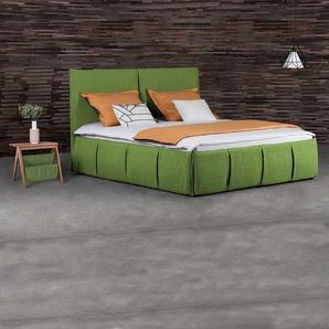 Bett in Grün Microvelour modern (dreiteilig)