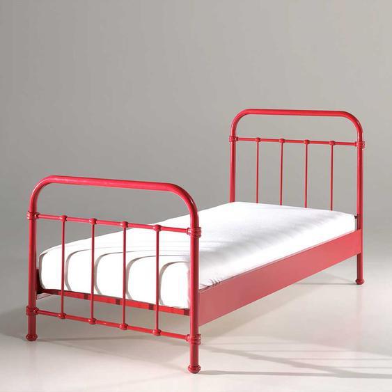Bett in Rot Metall