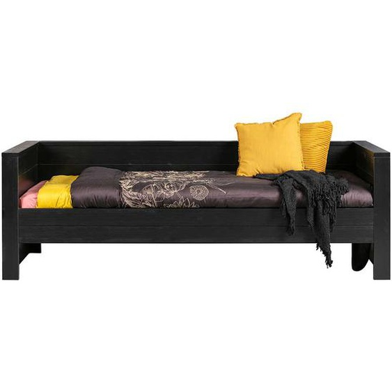 Bett in Schwarz Kiefer massiv Skandi Design