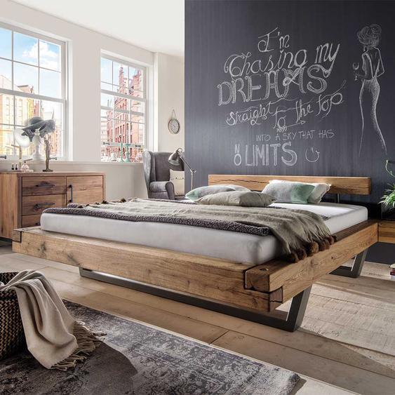 Bett in Schwebeoptik Wildeiche massiv