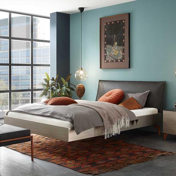 Bett in Silberfarben gepolstertem Kopfteil in Dunkelgrau