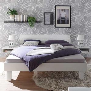 Bett in Wei� Buche Massivholz