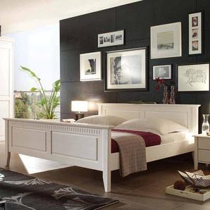 Bett in Weiß Pinie Massivholz