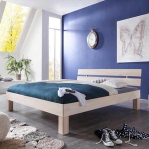 Bett in White Wash Optik Kernbuche Massivholz