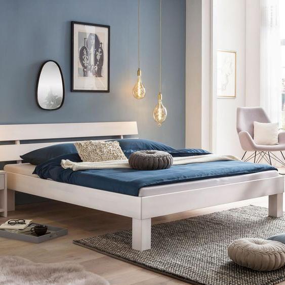 Bett Karmijn, weiß mit Holzstruktur, 180x200 cm
