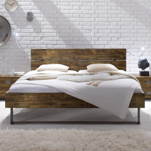 Bett Konna, Akazie braun, 160x200 cm, Fußhöhe 25  cm - ohne Metall-Beschläge