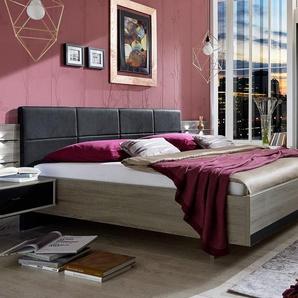 Designerbett in Trüffeleiche mit Lederkopfteil, 160x200 cm - Korba