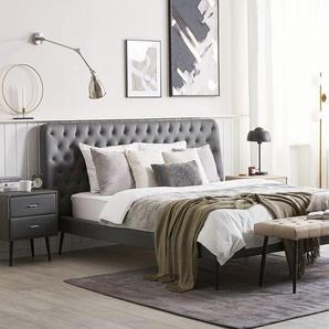 Bett Kunstleder grau Lattenrost 160 x 200 cm ESSONNE