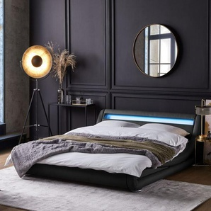 Bett Kunstleder schwarz 160 x 200 cm mit LED-Beleuchtung AVIGNON