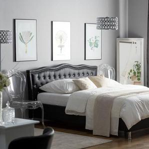 Bett Kunstleder schwarz Lattenrost 140 x 200 cm METZ