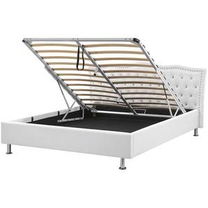 Bett Kunstleder weiß mit Bettkasten hochklappbar 160 x 200 cm METZ