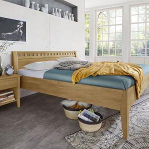 Bett aus Wildeiche natur in Komforthöhe 180x200 cm - Lancy