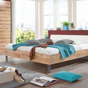 Bett 180x200 cm in Plankeneiche Dekor mit weißem Kopfteil - Loano