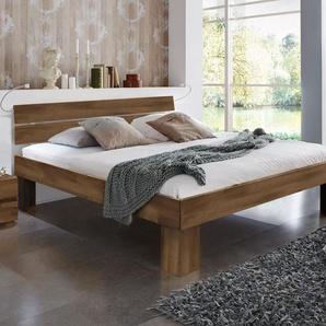 Seniorenbett - 90x200 cm - Buche nussbaumfarben - Fußhöhe 25 cm - Lucca Komfort