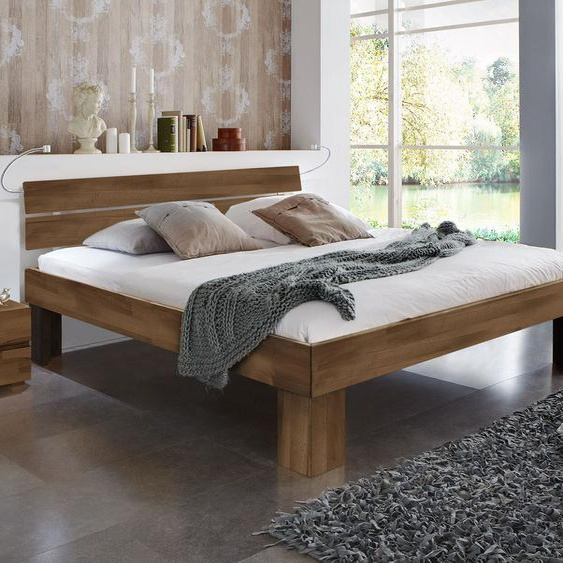 Bett Lucca Komfort, Kernbuche natur, 200x220 cm, Fußhöhe 30 cm