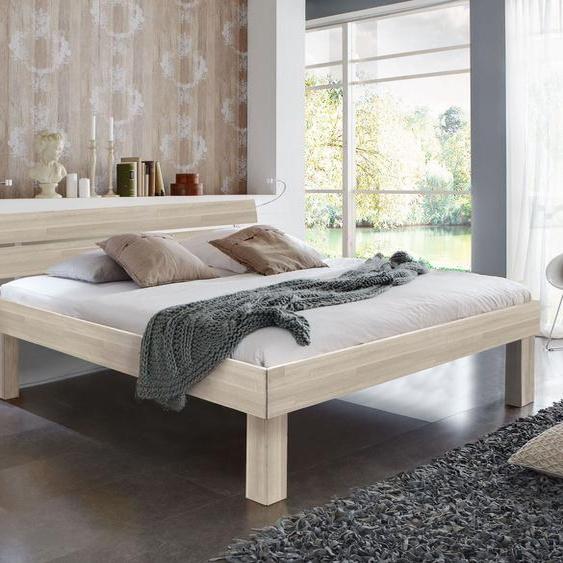 Bett Madrid Komfort, Buche weiß, 90x200 cm, Fußhöhe 25 cm - Bettrahmenhöhe 41 cm