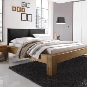 Echtholzbett Maia - 160x210 cm - Wildeiche coffee - Fußhöhe 20 cm